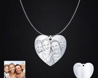 Engraved Love Family Photo Pendant