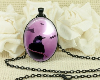 Halloween Crows Gothic Ravens Full Moon Oval Necklace V3891