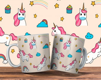 Mug With Three Colorful Unicorn Designs to Choose from