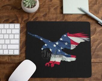 Freedom American Flag Eagle Mousepad Black Background