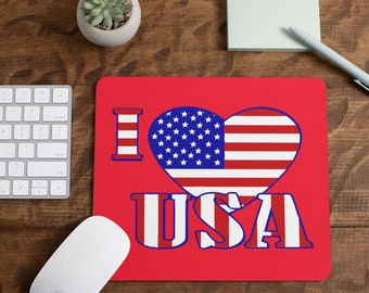 Red Love The Usa Mousepad