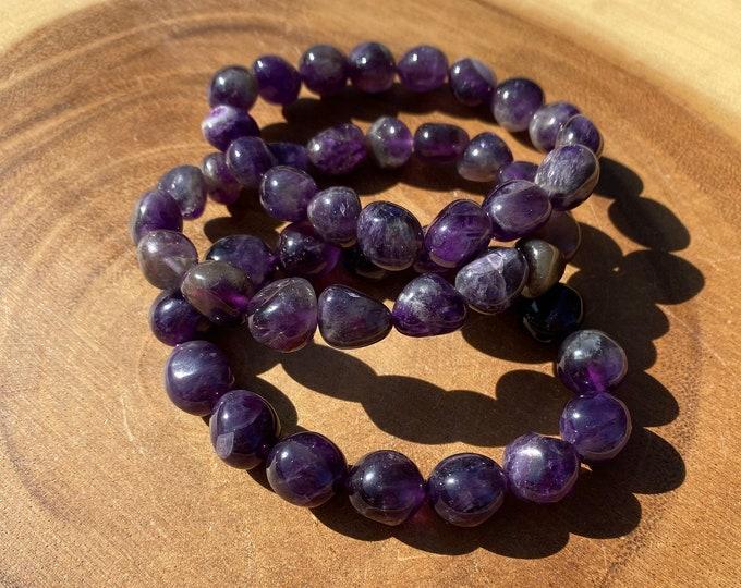 Amethyst Bracelet / HQ Tumbled Nugget Amethyst Bracelet / Protection / Purification / Spirituality / Boho Jewerly