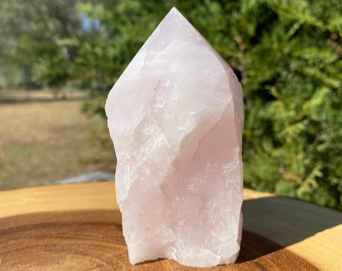 """Rose Quartz Raw Base Polished Point Standing Point """"B"""" / All Types of Love / Compassion / Self Esteem"""