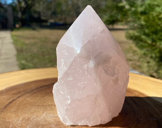 """Rose Quartz Raw Base Polished Point Standing Point """"F"""" / FREE SHIPPING / All Types of Love / Compassion / Self Esteem"""