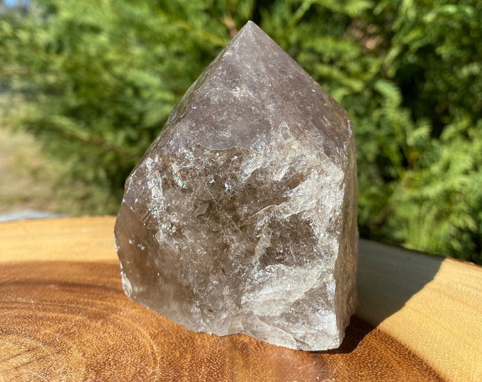 """Smokey Quartz Raw Base Polished Point Standing Point """"A"""" / FREE SHIPPING / Removes Negativity / Grounding / Transformation"""