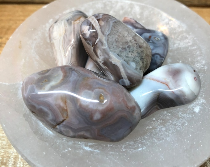 Botswana Agate Tumbled Stones / Pink Or Grey / Protective / Lucky / Comforting