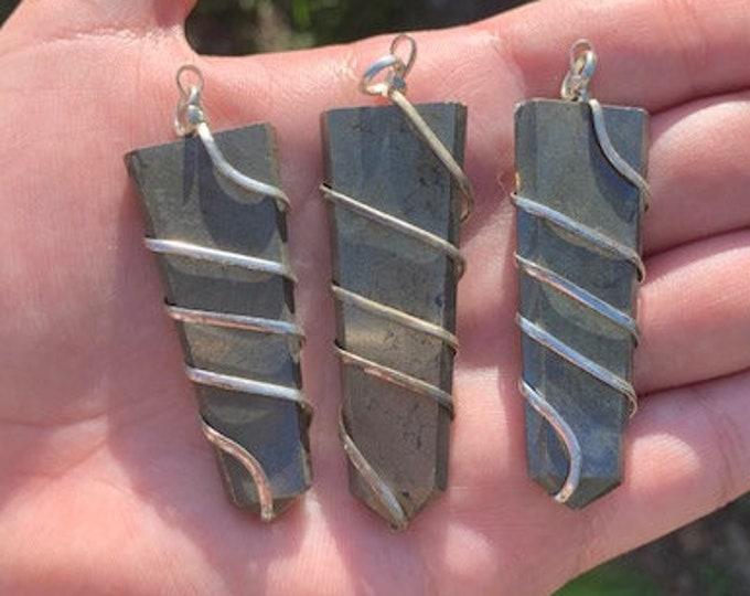 Pyrite Polished Wrapped Blade Pendant / Protection / Deflects Negativity / Boho Jewelry