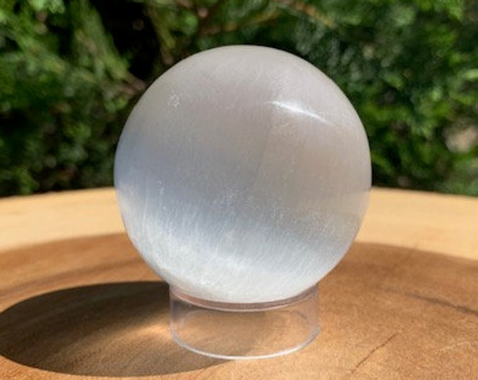 Selenite Sphere, 50mm with acrylic stand / Selenite Ball / Focus / Clarity / Peace / Tranquility