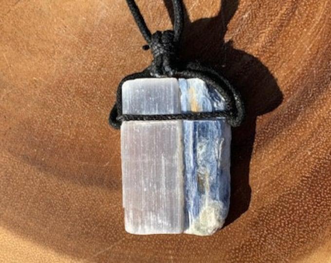 Selenite & Blue Kyanite Necklace / Focus / Amplification / Cleaning / Communication / Meditation / Balance / Boho Jewelry