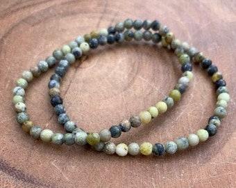 "Yellow ""Turquoise"" 4mm Bracelet / Jasper / Serpentine / Boho Jewelry / Stackable Bracelets / Not Turquoise"