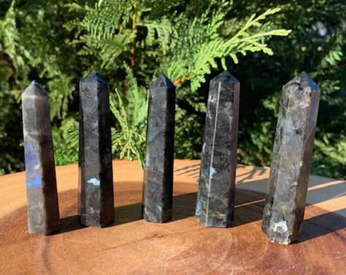 Larvakite Black Labradorite Tower / Grounding / Transformation / Protective