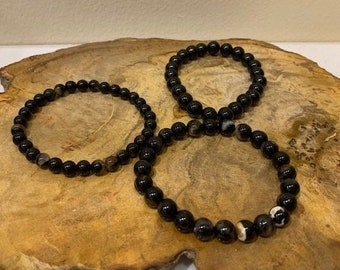 HQ Tumbled Black Tourmaline Bracelet FREE SHIPPING / 4mm or 8mm / Black Tourmaline with Quartz / Stone of Protection / Grounding / Calming