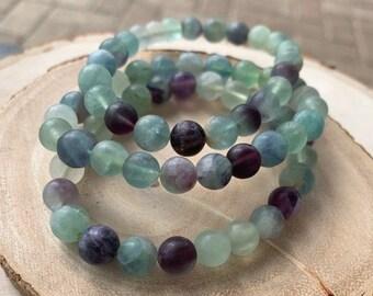 8mm Matte Gemstone Bracelets / Stackable Bracelet / Amazonite / Amethyst / Fluorite / Rose Quartz / Tiger Eye / Boho Jewelry
