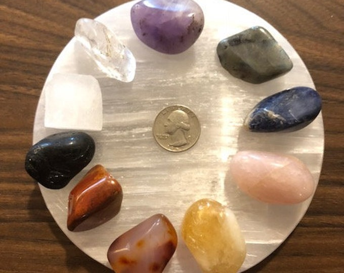 Chakra Stone Complete Set Healing Crystal Meditation *FREE SHIPPING* / Yoga / Reiki / Energy Healing / Chakra Stone Healing