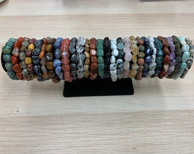 Tumbled Gemstone Nugget Bracelets / Stackable Bracelets / Resize Available Upon Request