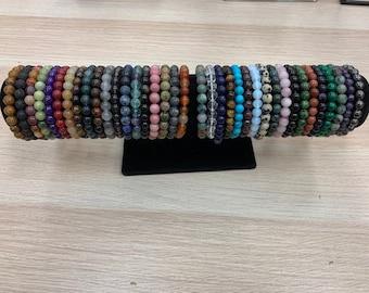 8mm Gemstone Energy Bracelets / Stackable Bracelet / Boho Jewelry / Crystal Bracelets / Zodiac / Birthstone