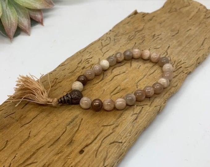 Peach Moonstone Natural Mala 8mm Bracelet / Grounding/ Clearing / Protection / Boho Jewlery