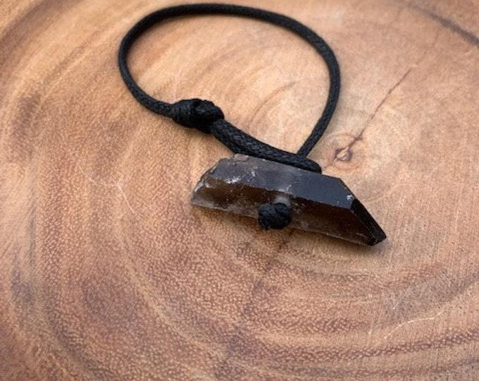 Smokey Quartz Point Adjustable Bracelet / Removes Negativity / Grounding / Transformation / boho jewelry