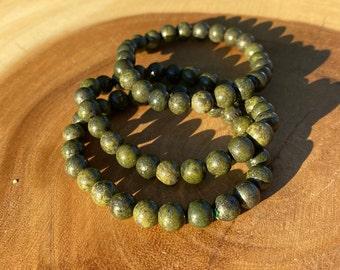 Pyrite with Epidote 8mm bracelet / Prosperity / Protection / Deflects Negativity / boho jewelry