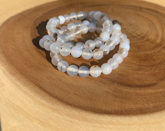 Dendritic Agate 8mm Bracelet / Grounding/ Clearing / Protection / Boho Jewlery