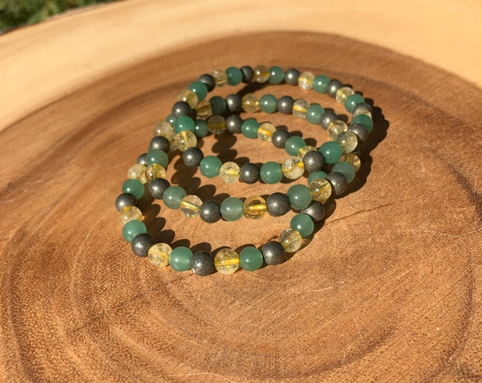Citrine, Green Aventurine, Pyrite 6mm Bracelet / Protection / Grounding / Balance / Abundance / Friendship / Boho Jewlery