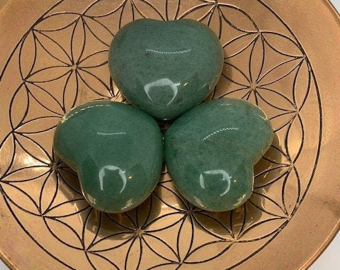 Green Aventurine Puffy Heart / Luck / Prosperity / Friendship