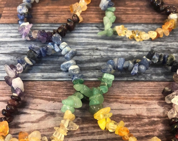 Chakra Chip Bracelet / Balance / Clarity / Meditation Shielding / Grounding / Protective
