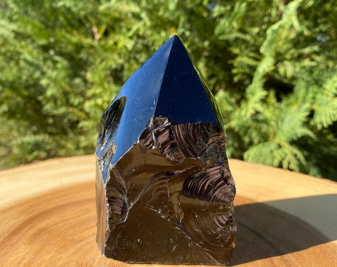 """Black Obsidian """"F"""" Tower / FREE SHIPPING / Raw Base Polished Point Standing Point / Protection / Grounding / Removes Negativity"""