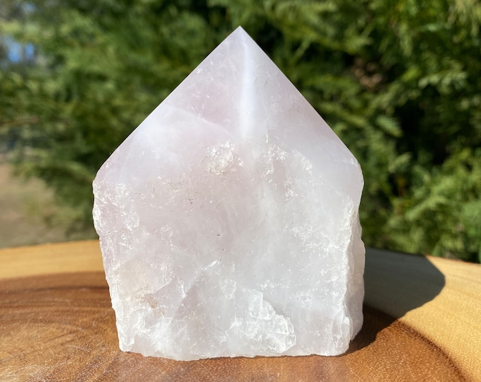 """Rose Quartz Raw Base Polished Point Standing Point """"A"""" / FREE SHIPPING / All Types of Love / Compassion / Self Esteem"""