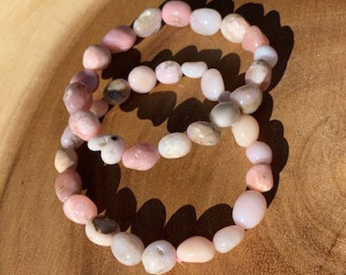 Pink Opal Bracelet / Tumbled Pink Opal / October Birthstone / Love / Calming / Boho Jewelry