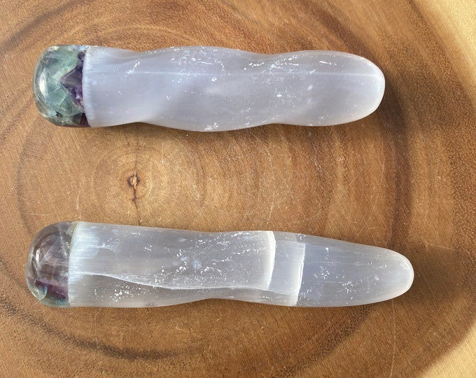 Selenite Massage with Fluorite Top *FREE SHIPPING*/ Crystal Healing / Cleansing / Clarity / Protection