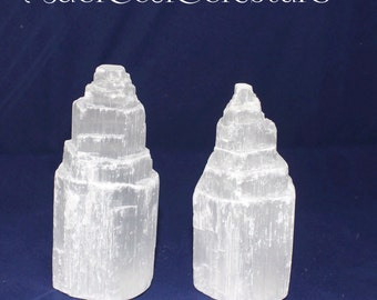 """Selenite Tower up to 6"""" Set of Two"""