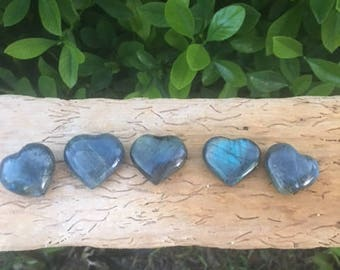 Labradorite Puffy Heart 30mm - 50mm / Strength / Transformation / Intuition