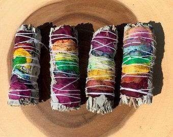 Chakra Sage Sticks / White Sage & Rose Petal Smudge Sticks / Ceremony / Rituals / Protection / Cleansing