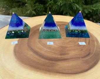 "Orgone Sacred Pyramid ""Ocean"" / Orgone Generator / Orgone Tools / Blocks EMF / Sacred Energy Tools"