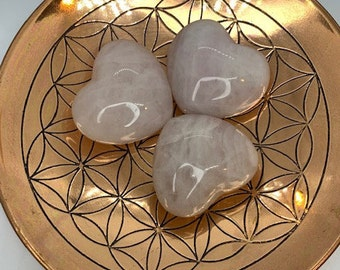 Rose Quartz Puffy Heart / love / kindness / holiday gift