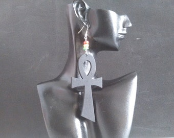 Black Ankh Earrings with Red Yellow and Green Beading READY TO SHIP
