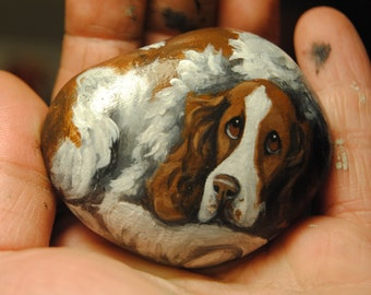 Hand Painted~RocK~~English Springer Spaniel~Dog~Original Painting~Whimsical~Stone~ART