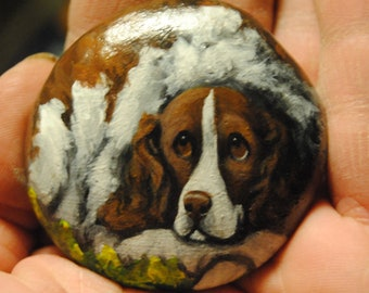 Hand Painted~Rock~English Springer Spaniel~Original Painting~Whimsical~Stone~ART