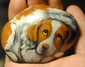 Hand Painted~ROCK~Brittany Spaniel~Dog~Original Painting~Whimsical~Stone~ART