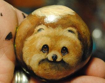 Hand Painted~Rock~~Pomeranian~~Dog~Original Painting~Whimsical~Stone~ART