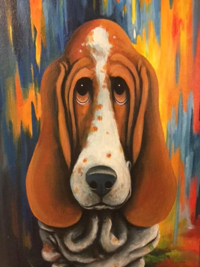 Originale Basset ~ Pop Art Peinture Canine Entoilé Lunatique Moderne Carton Hound Chien nkwO80P