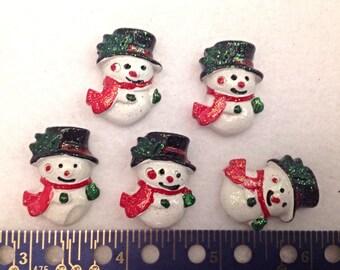 5 Resin Snowmen, Flatback Buttons
