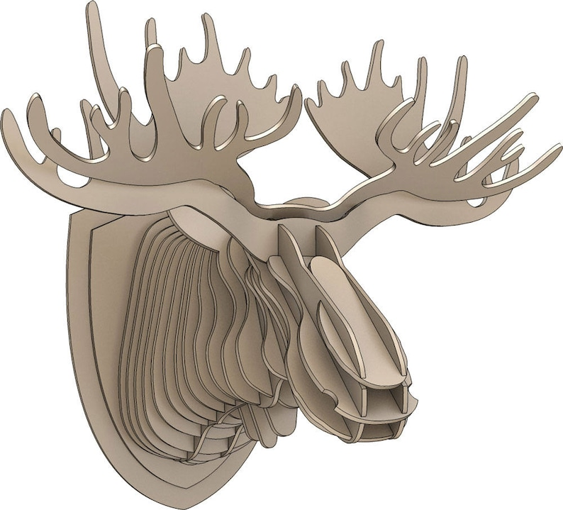 Moose Trophy Head Laser CNC Router Cutting Pattern DXF