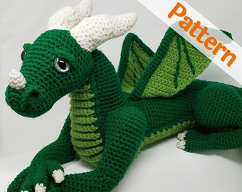 Large Dragon amigurumi crochet pattern, Vincent, printable pdf