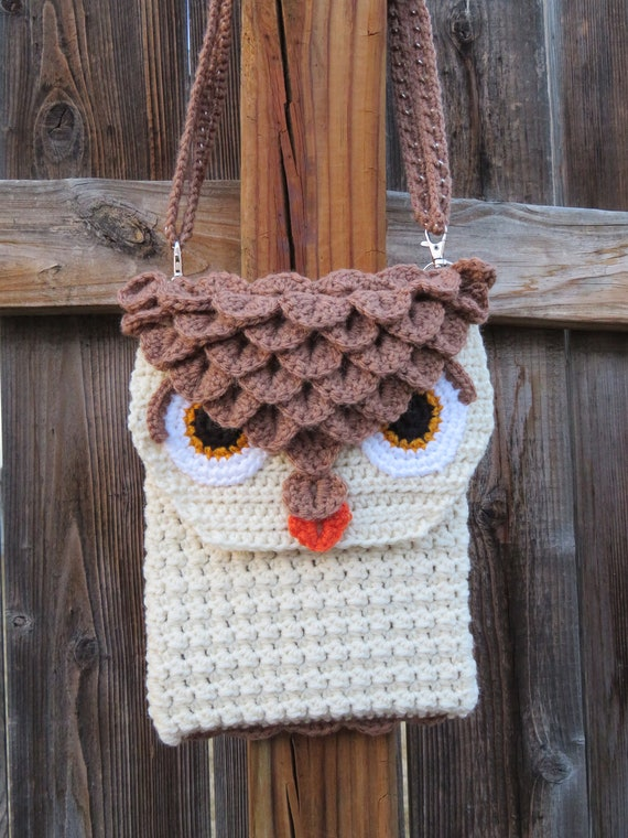 Owl Purse Crochet Pattern Crossbody Bag Owl Feathers Purse Etsy