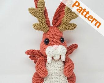 Wolpertinger Rabbit amigurumi crochet pattern, Monroe, printable pdf