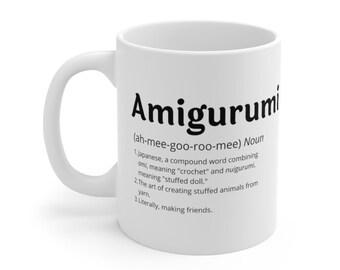 Amigurumi, crochet coffee mug,0 White Ceramic - Double-sided