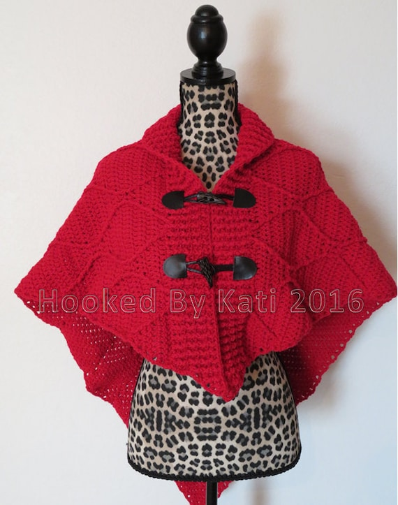 Cape Crochet Pattern Wrap Shawl Cloak Red Crochet Cloak Etsy