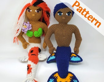Twos Mermaid Amigurumi Patterns, Koi Mermaid and Betta Merman